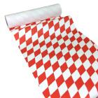 50m x 0,40m JUNOPAX® Papier Tischläufer Raute weiß-rot